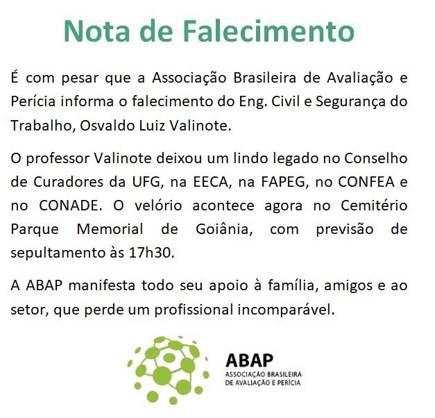 ABAP lamenta a morte do professor Osvaldo Luiz Valinote
